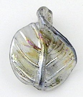 10 Lampwork Glass Leaf beads 30mm Silver AB